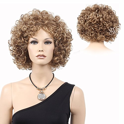 STfantasy Wig Afro African American Short Curly Kinky 70s Cosplay Costume Disco Party Synthetic Hair for Black Women+Cap(13