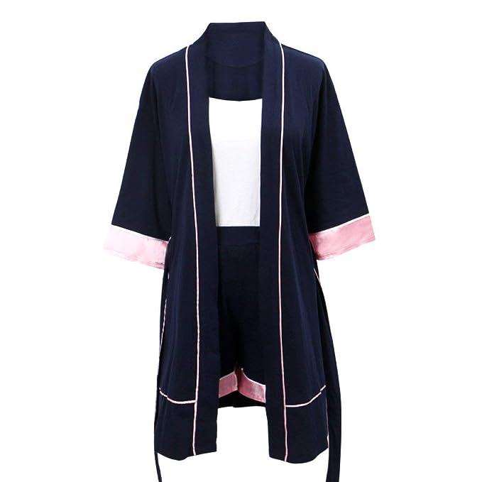 Albornoz Mujer Camisones Primavera Mangas 3/4 Verano Casual Modernas Casual Cómodo Respirable Ropa para El Hogar Pijama Batas con Cinturón: Amazon.es: Ropa ...