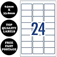 [24 Per Page] A4 Self Adhesive Address Labels Laser Inkjet Print Mailing Stickers 100 Sheets