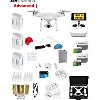 DJI Phantom 4 ADVANCED Plus Quadcopter Drone with 1-inch 20MP 4K Camera KIT + 3 Total DJI Batteries + 2 64GB Micro SD Cards + Reader + Guards + Range Extender + Charging Hub + Harness + HardCase