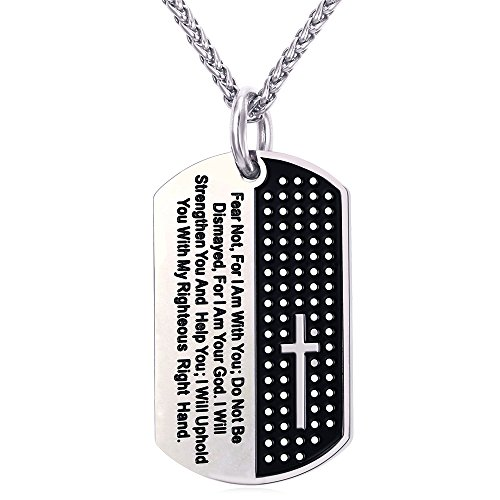 U7 Serenity Prayer Dog Tags Necklace Baptism Christening Gift Stainless Steel Chain 24