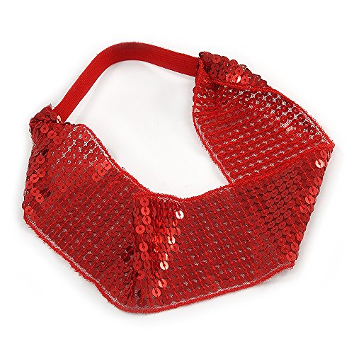 Avalaya Retro/Disco Red Sequin Wide Elastic Headband/Headwrap