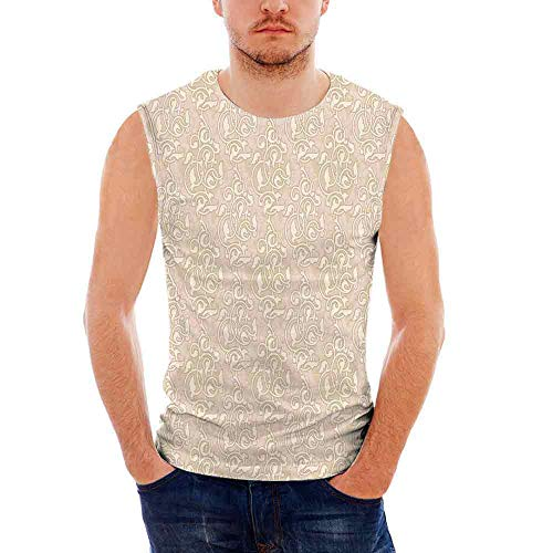 Beige Mens Comfort Cotton Tank Top,Swirling Seed and Flower Patterns in Antique