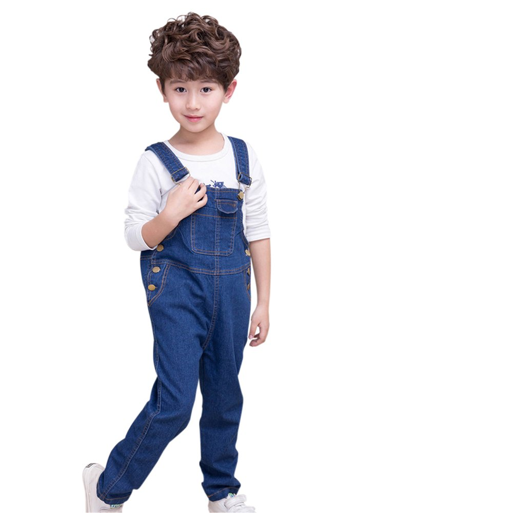 Boys Girls Overalls Braces Denim Pants Trousers with Side Button Closure Alician