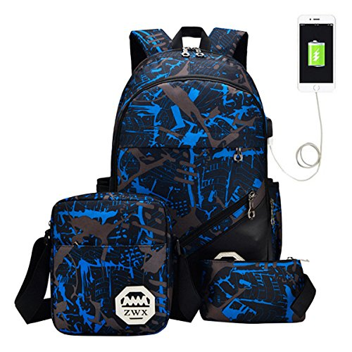 ABage 3 Pieces Kid's Travel College School Bag Laptop Backpack Bookbag for Boys and Girls, ()