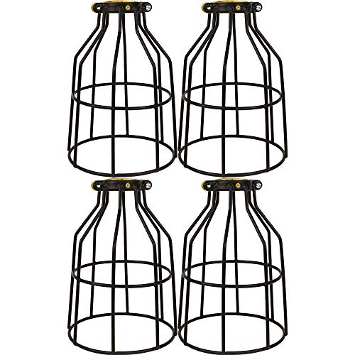 Newhouse Lighting WLG1B-4 Metal Bulb Guard Lamp Cage for Pendant Lights, Lamp Holders, Ceiling Fan and Light Bulb Covers, Vintage and Industrial Style, 4-Pack (Replacement Glass Shades For Ceiling Fan Lights)