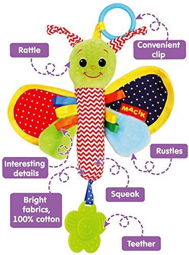 Baby Newborn Butterfly Toy - Newborn Toys - Rattle Toys - Hanging Toys - Infant toys - Baby Toys - 0 - 3 - 6 Months Teething Clip on toys - for Girls Boys by MACIK