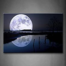 YIDA YUN Black And White Reflection Of Big Moon Over Sea Beach Wall Art Painting Picture Print On Canvas Space Pictures For Room