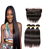 Daiweier Brazilian Straight Hair With Lace Frontal Closure Ear to Ear Bleached Knots Mink Unprocessed Human Hair Bundles Weft Natural Color 12 14 16 + 10 Inches Prime