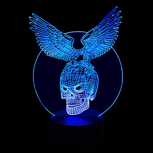 Ornerx 3D Illusion Lamp LED Night Light Skull with Eagle For Sale