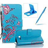 Strap Leather Case for Samsung Galaxy J7 2017 J720,Portable Wallet Case for Samsung Galaxy J7 2017 J720,Herzzer Bookstyle Retro Brilliant Butterfly Flower Pattern Stand Magnetic Smart Leather Case with Soft Inner for Samsung Galaxy J7 2017 J720 + 1 x Free Blue Cellphone Kickstand + 1 x Free Blue Stylus Pen - Blue