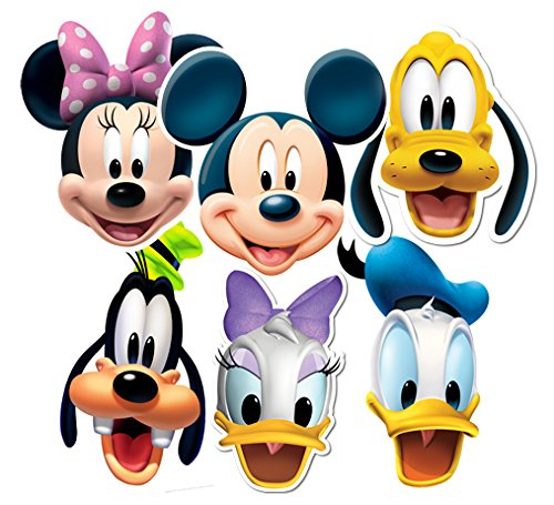 Star Cutouts SMP37 STSMP37 Disney Mickey & Friends, Party 6 Pack - (Mickey, Minnie, Donald, Pluto, Goofy, Daisy) Friends Mask, One Size -
