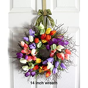 Tulip Spring Wreath for front door, Easter Wreath, Spring Decoration, Spring Wreath, Winter Wreath, Wedding Wreath, wreathe, Mother's Day gift, tulip wreath,assorted color selection available 108