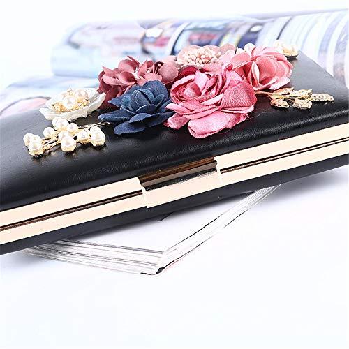 Pochette Sac Élégant Femme Pour Floral Soirée Femmes Pu Sacs 3d À En Noir De Bandoulière Avec Bal Main Mariage Chaîne Cuir Fête rwStr