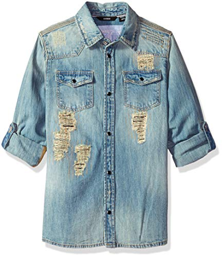 GUESS Boys' Big Roll Up Sleeve Button Down Distressed Logo Shirt, Vintage Blue Denim wash, 14