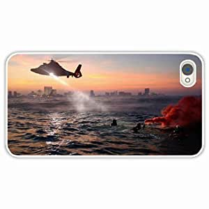 Apple iPhone 4 4S Cases Customized Gifts Water Sea Coast Guard Helicopter Armed Forces White Hard PC Case