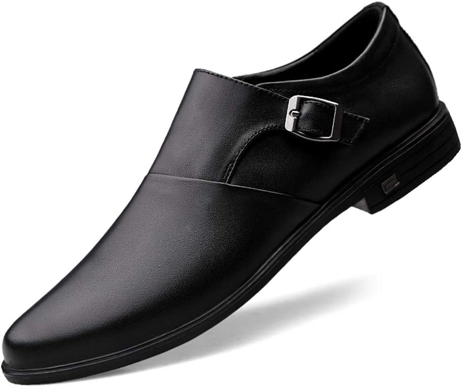 Hishoes Mens Business Loafer Casual Genuine Leather Adjustable Buckle Elastic Gored Panel Pull On Round Toe Lined Oxford Shoes Anti-Slip Color : Black, Size : 6.5 M US