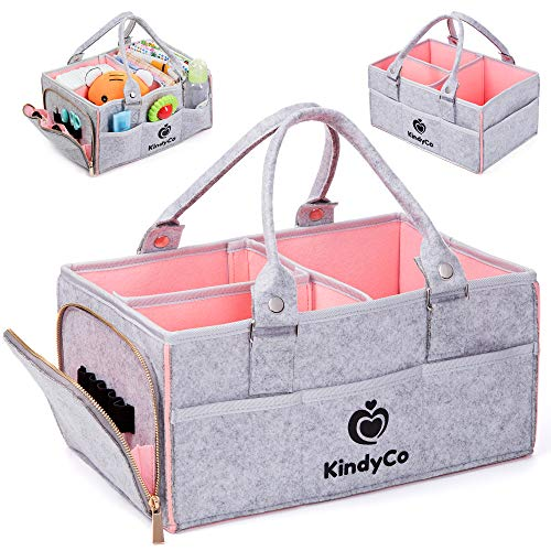 Baby Diaper Caddy Organizer Portable – Baby Basket for Girls and Boys, Unisex Diaper Bag, Baby Tote Nursery Diaper Storage Caddy with Sturdy Double Felt and Removable Handles