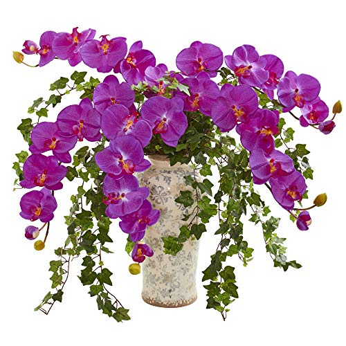 - Nearly Natural 1870-OR Phalaenopsis Orchid and Ivy Artificial Urn Silk Arrangements,