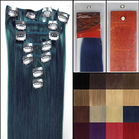 Straight Remy Clip In Human Hair Extensions 24 Colors for Your Choose in 15inch ,18inch ,20inch ,22inch ,Beauty Salon Women's Accessories (22''7pcs 80g with clips, RED) WIG FASHION INC