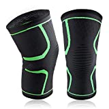 bC BimeTALliC CAble Knee Brace Support Compression Sleeves for Running, Jogging, Sports, Joint Pain Relief, Arthritis and Injury Recovery Improved Circulation Compression Green 2pcs
