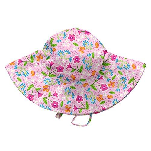 i play. Baby Girls' Brim Sun Protection Hat, Pink Spring Garden, 9-18 Months