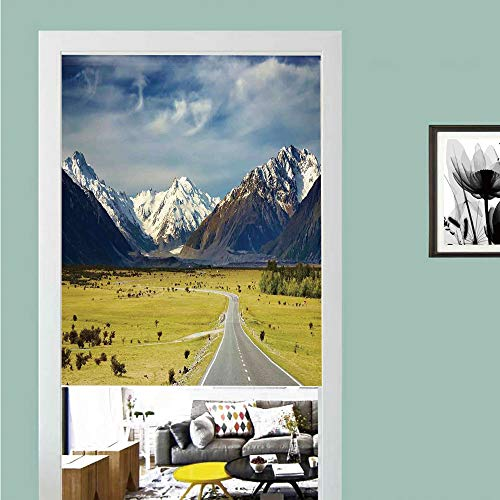 3D printed Magic Stickers Door Curtain,Apartment Decor,Landscape with Road and Snow Capped Mountains Southern Alps New Zealand Picture,Navy White Olive ,Privacy Protect for Kitchen,Bathroom,Bedroom(1