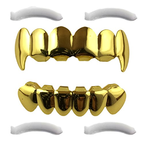 [24K Gold Plated Grillz Top & Bottom Fangs + 2 Extra Molding Bars] (Halloween Costumes For 4 People)