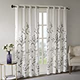Cheap Sheer Curtains For Bedroom, Modern Contemporary Linen Natural Sheer Curtains 84 inches long For Living Room, Cecily Botanical Modern Grommet Sheer Curtain, 50″ W X 84″ L, 1-Panel Pack