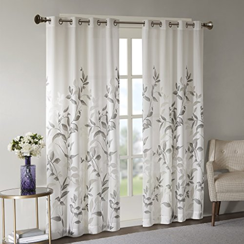 Cecily Burnout Printed Window Panel Grey 50x84