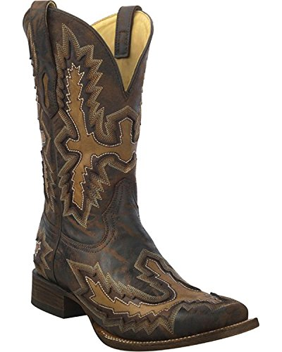 CORRAL Mens Chocolate Distressed Inlay Boot Square Toe - A3100 Chocolate 2FnVvSUB2