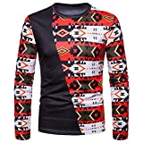 kaifongfu Men Pullover Top,Men Blouse with African Indian Style Crew Neck Long Sleeve Shirt BlackXL