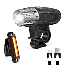 USB Rechargeable Bike Light Set, Waitiee Waterproof USB Bike Flashlight + USB Rear Light, 400 Lumens Rechargeable Bicycle Front Light and Taillight for Kids Men Women Road Cycling SafetyFlashlight