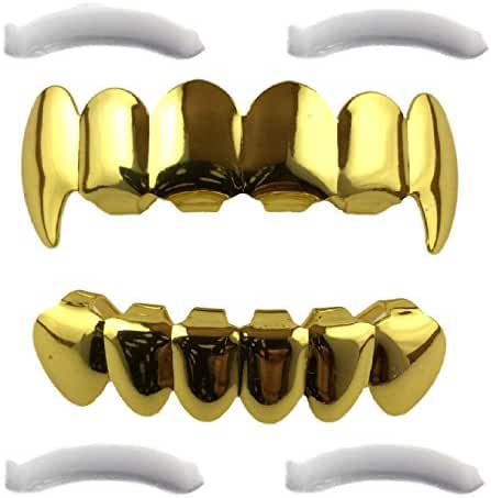 24K Gold Plated Grillz Top & Bottom Fangs + 2 Extra Molding Bars