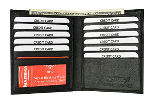 Credit Card Billfold - New Premium Lambskin Leather Bifold Hipster Credit Card Wallet (Black)