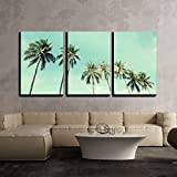 vintage modern home - wall26 - 3 Piece Canvas Wall Art - Vintage Nature Photo of Coconut Palm Trees in Seaside - Modern Home Decor Stretched and Framed Ready to Hang - 16