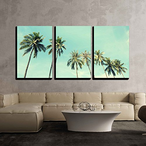 Vintage Nature Photo of Coconut Palm Trees in Seaside x3 Panels