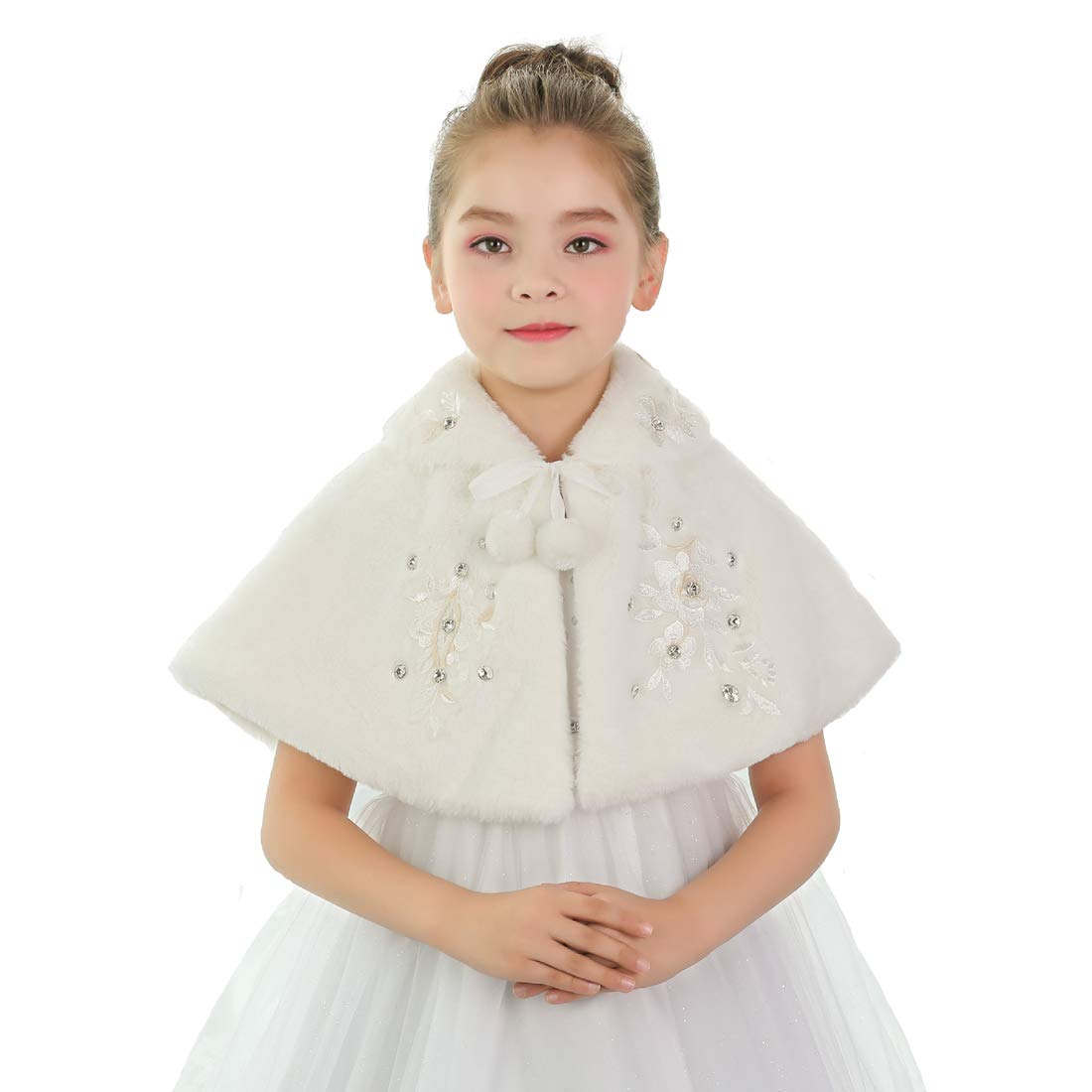 Girls Winter Warm Cape Flower Girl Faux Fur Wraps Cape Sweet Girls Princess Faux Fur Wraps Shoulder Coat