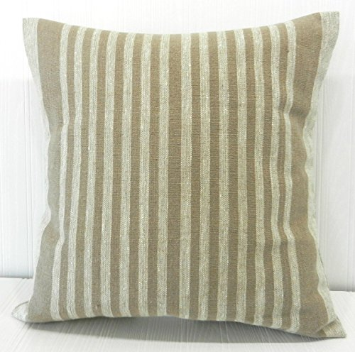 Pillow Cover 18x18 Farmhouse Natural and Tan Thin Stripe