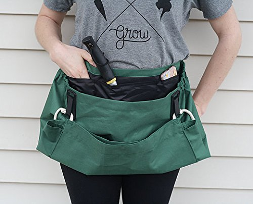 - Roo Garden Apron - The Joey - Gardening, Work and Harvesting Tool Belt with Storage Pockets and Canvas Pouch - Womens One Size Fits All - Cotton Canvas, Machine Washable - Leaf Green