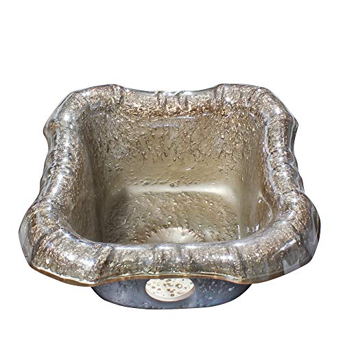 Wash Basin, Modern Glass Vessel Sink - Champagne Glass Tub Pedicure Foot Spa Wash Basin for Massage Tempered Glass Wash Basin