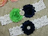 Lime Green and Navy Blue Garter, Wedding Garter Set, Bridal Garter Belt, Keepsake and Toss Stretch Lace Garters