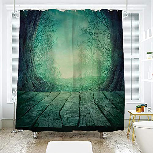 scocici DIY Bathroom Curtain Personality Privacy Convenience,Gothic,Spooky Scary Dark Fog Forest with Dead Trees and Wooden Table Halloween Horror Theme Print,Blue,78.7