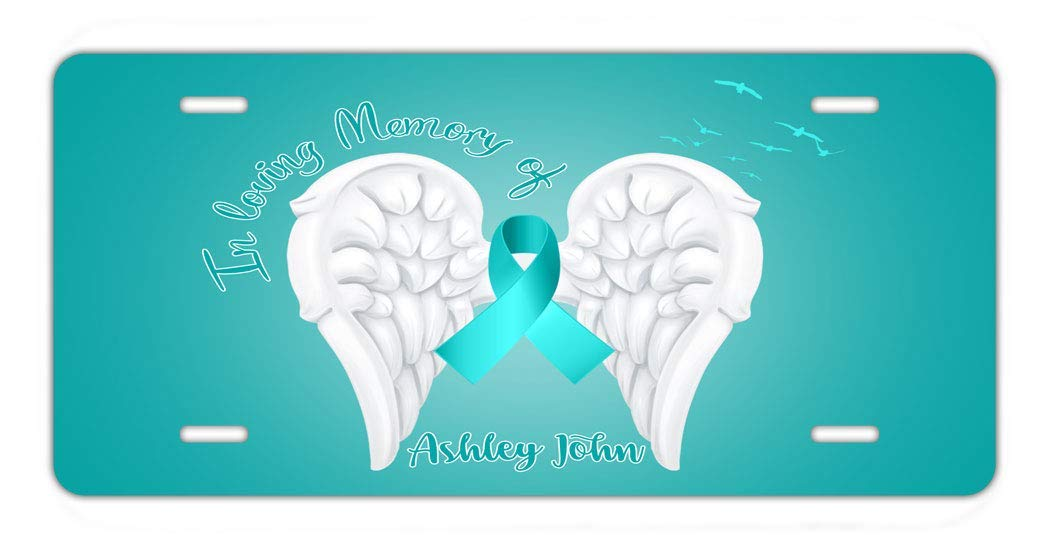 BRGiftShop Personalized Custom Ovarian Cancer Wings Ribbon In Loving Memory Car Vehicle 6x12 License Plate Auto Tag