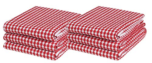 Kitchen Towel Waffle Weave, Farmhouse Style, Ultra Absorbent, Quick Dry, Tea Towels, Bar Towels, Cleaning Towels, Kitchen Tea Towels, 100% Pure Cotton, Absorbent Waffle Weave- 6 Pack 16x26 Red