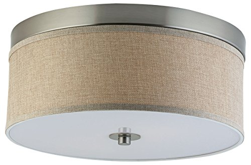 "Occhio 15"" Flush Mount Ceiling Light - Brushed Nickel w/ a Linen Fabric Shade - Linea di Liara LL-C252-NL Brushed Nickel Large Flush"