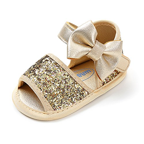 (Baby Toddler Girls Sandals Soft Sole Glitter Summer Princess Shoes with Bowknots 0-18 Months (M: 4.73 inch(6-12 Months), Gold))