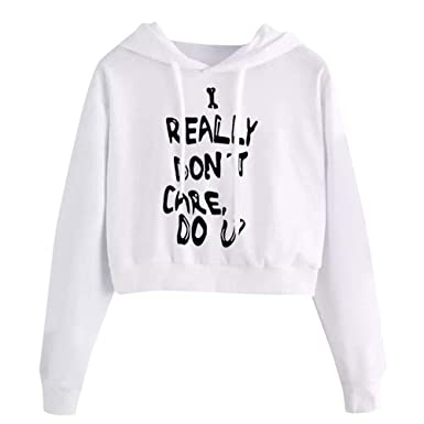 Sudaderas Mujer Cortas - I Really Dont Care DO U - Casual Tumblr Camiseta