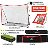 WhiteFang Golf Net | 4 in 1 Golf Practice Set 10x7ft / 3 in 1 Golf Netting Bundle/Just Golf Chipping Net/Just Golf Hitting Mat|Golf Balls with Portable Carry Bag for Backyard Driving/Indoor/Outdoor