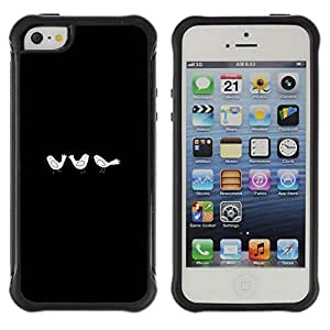 WAWU Funda Carcasa Bumper con Absorci??e Impactos y Anti-Ara??s Espalda Slim Rugged Armor -- black minimalist birds drawing emo -- Apple Iphone 5 / 5S